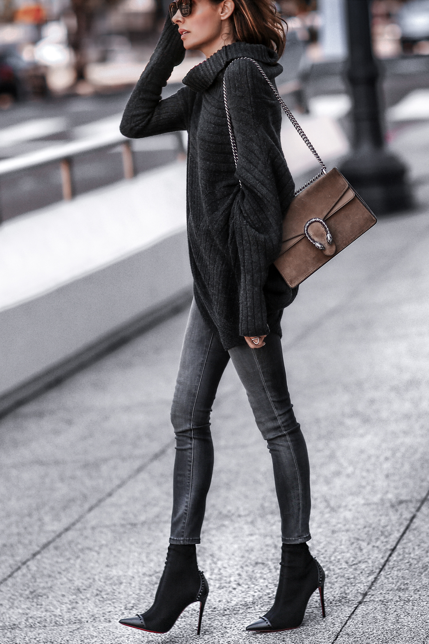 chunky knit sweater, grey skinny jeans, christian louboutin booties, gucci bag