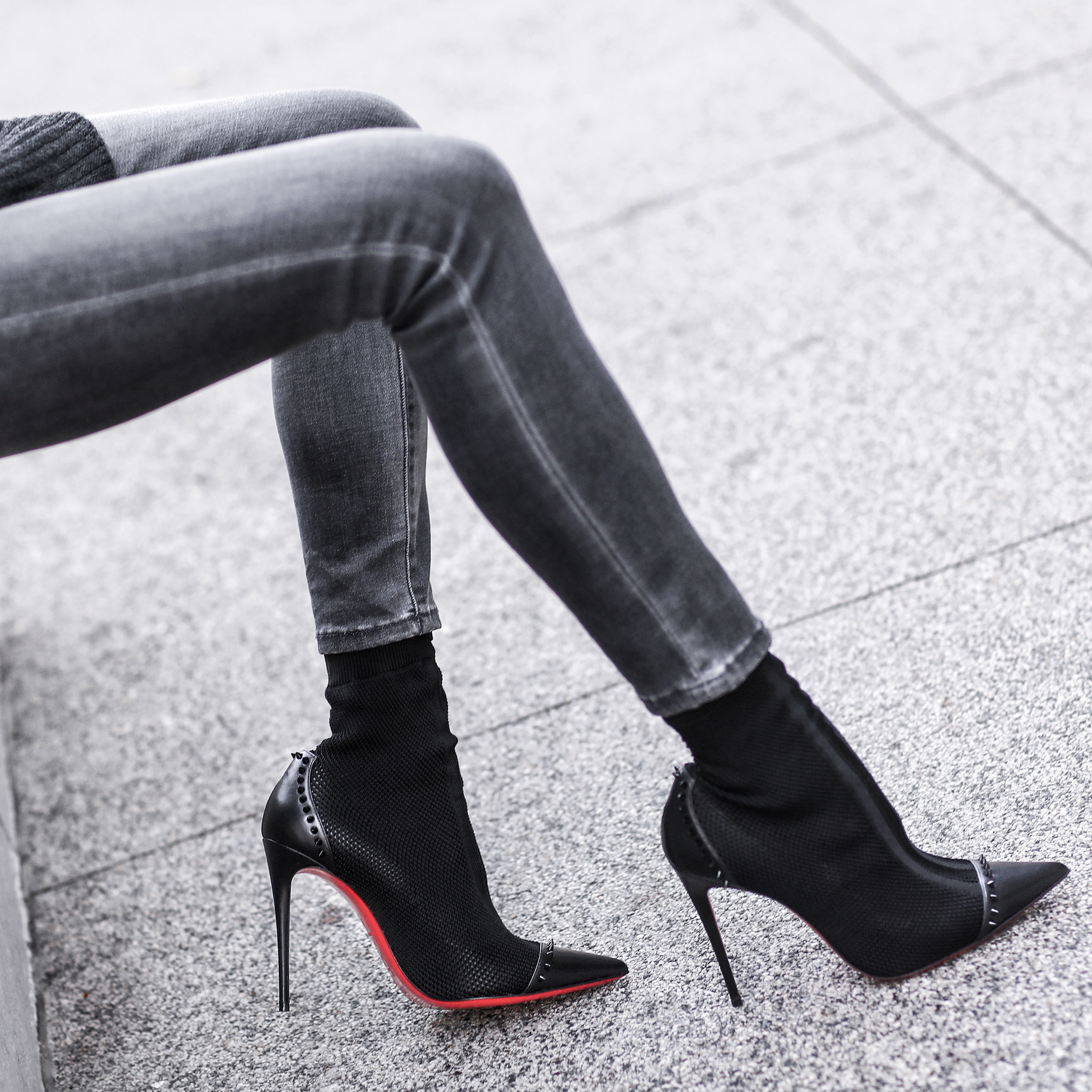 christian louboutin booties, grey skinny jeans