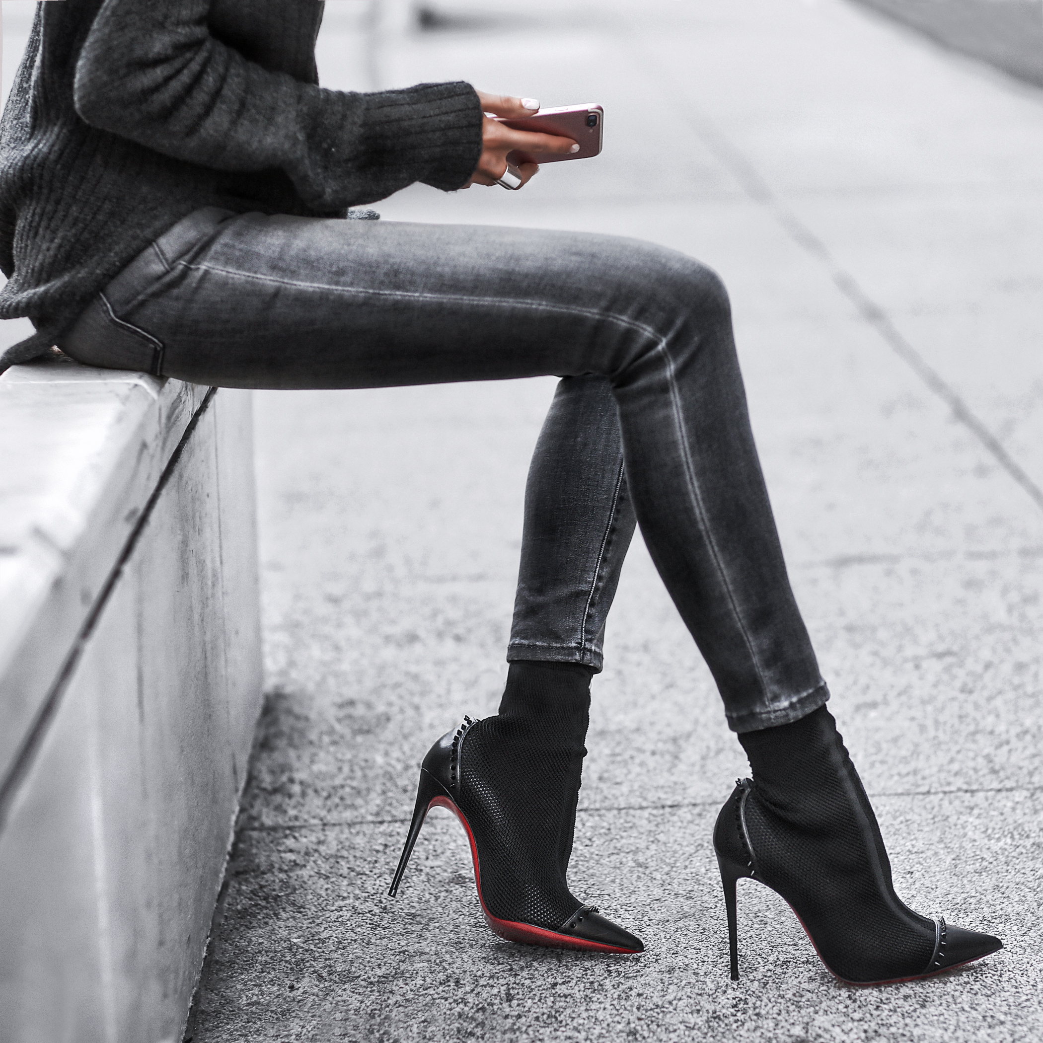 chunky knit sweater, grey skinny jeans, christian louboutin booties