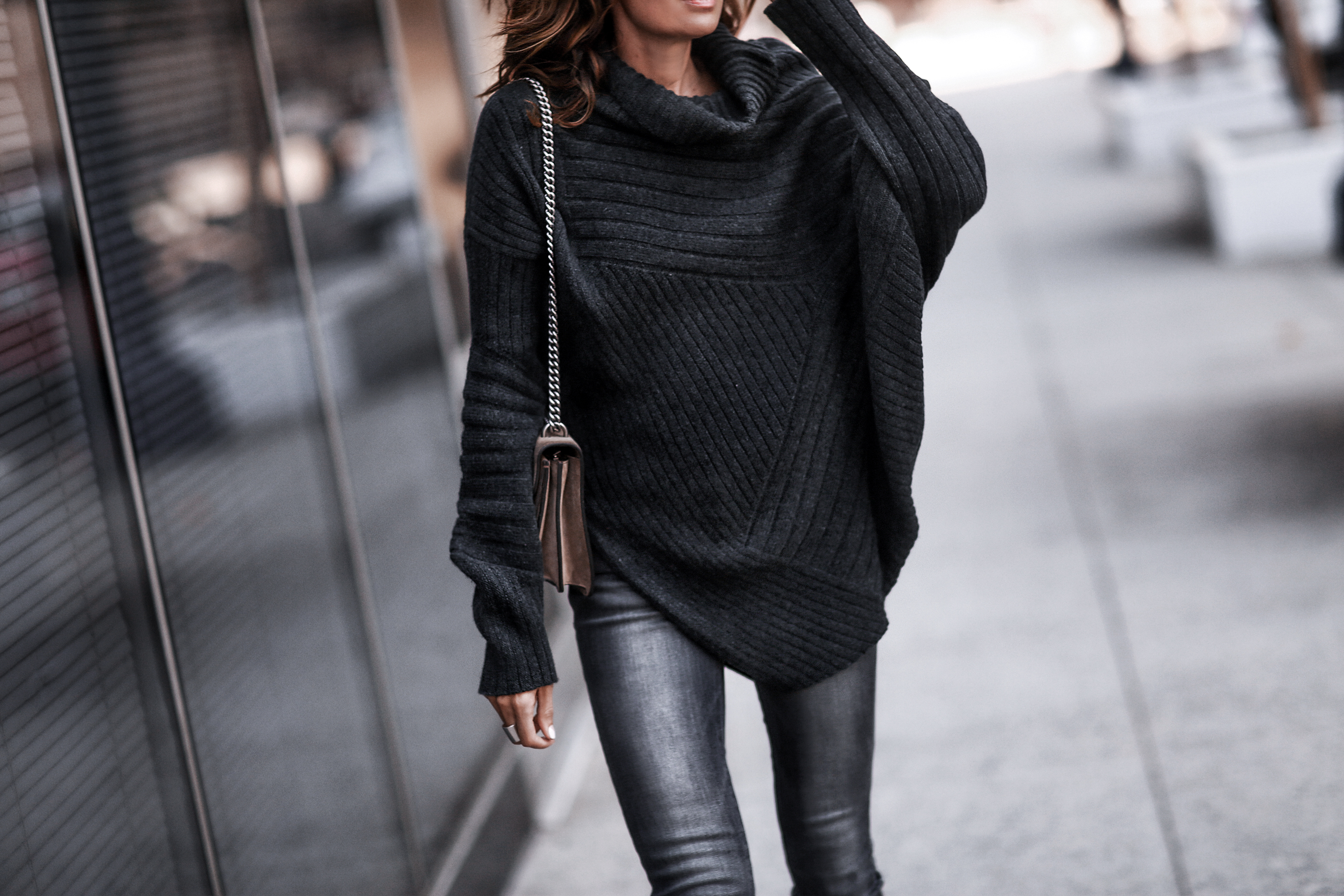 chunky knit sweater, grey skinny jeans, gucci bag