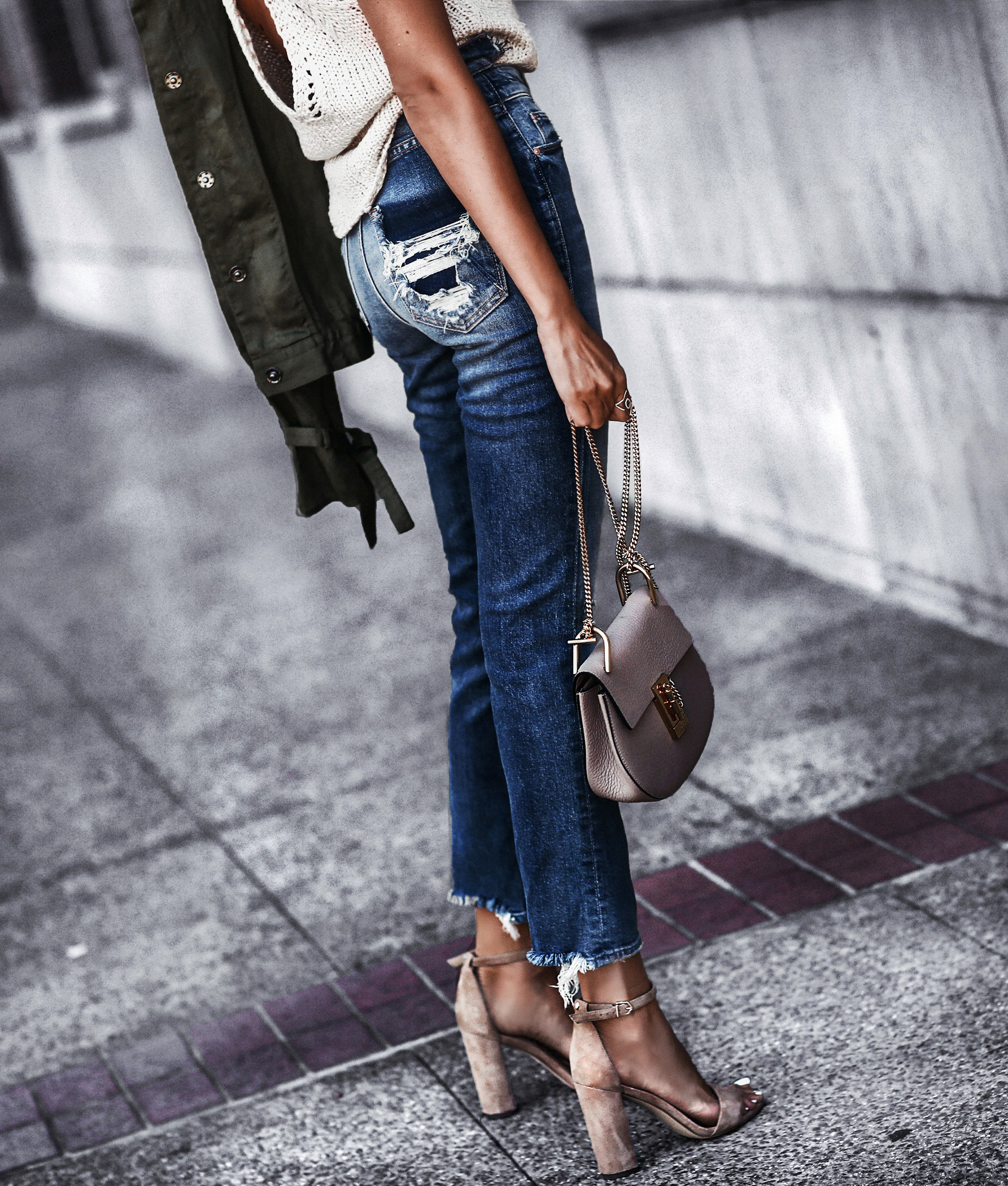 distressed high waisted jeans, nude suede sandals, knit tank top, army green jacket