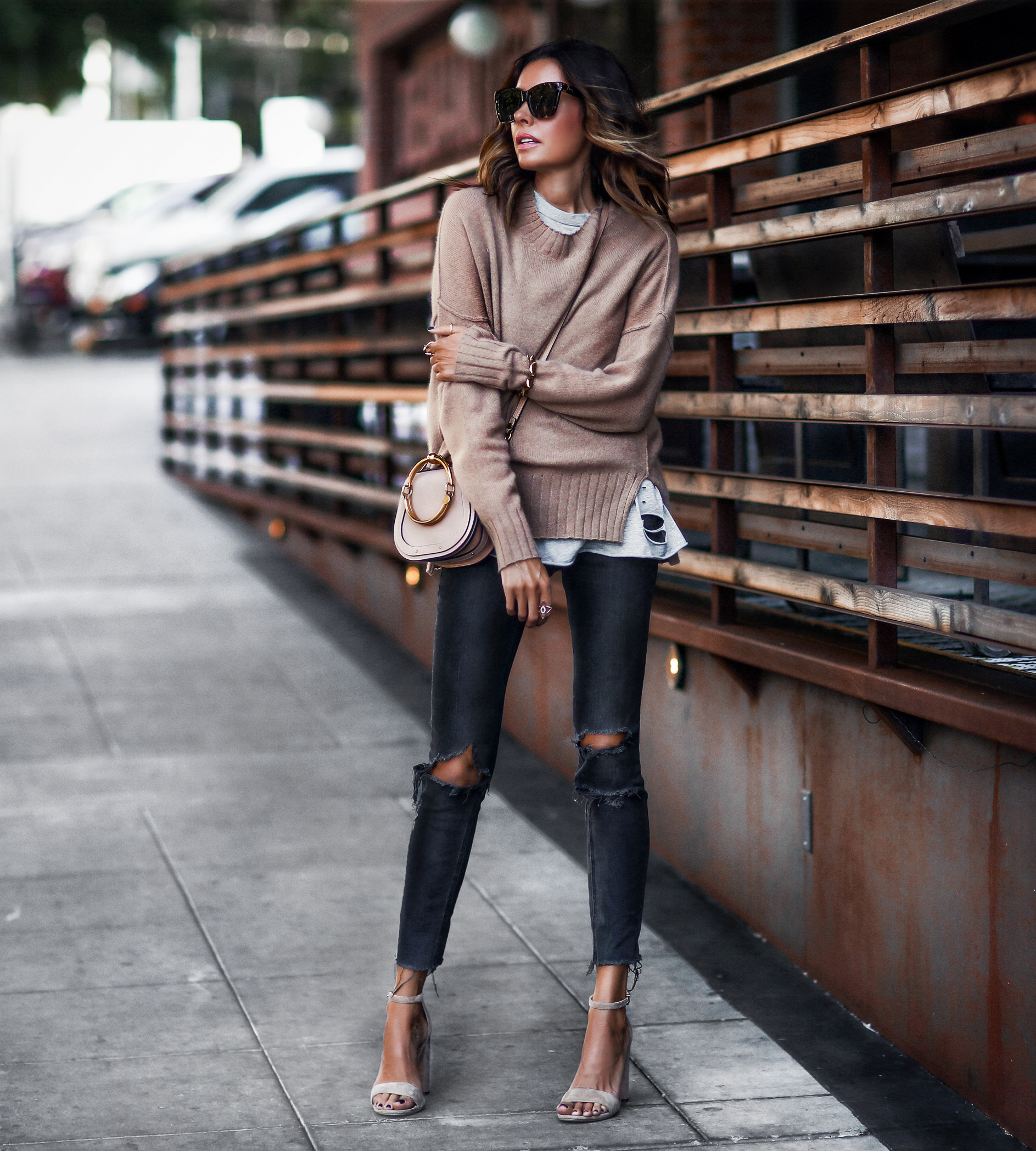 cashmere camel sweater, distressed skinny jeans, nude sandals, chloe bag