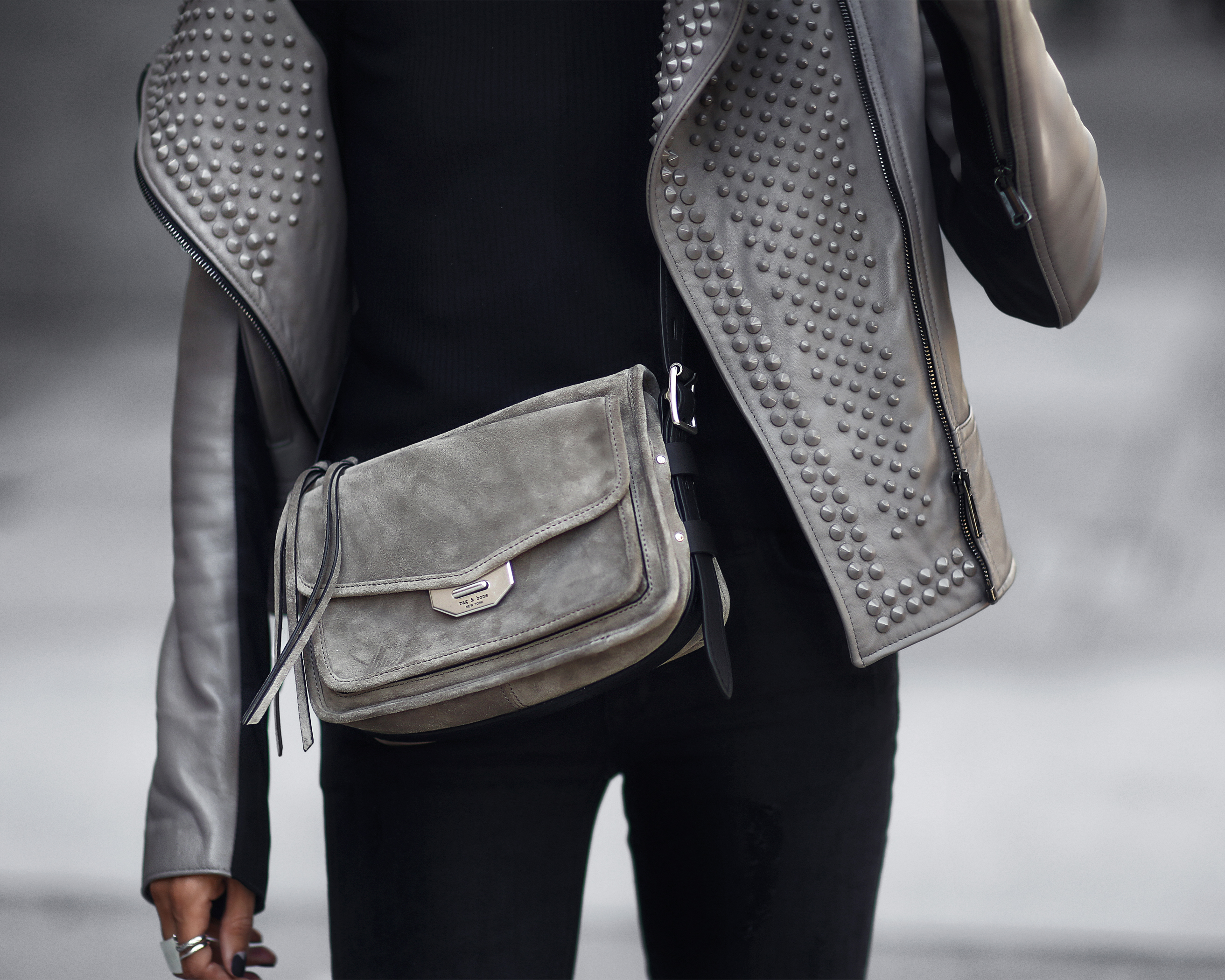 cold shoulder top, leather jacket, crossbody bag
