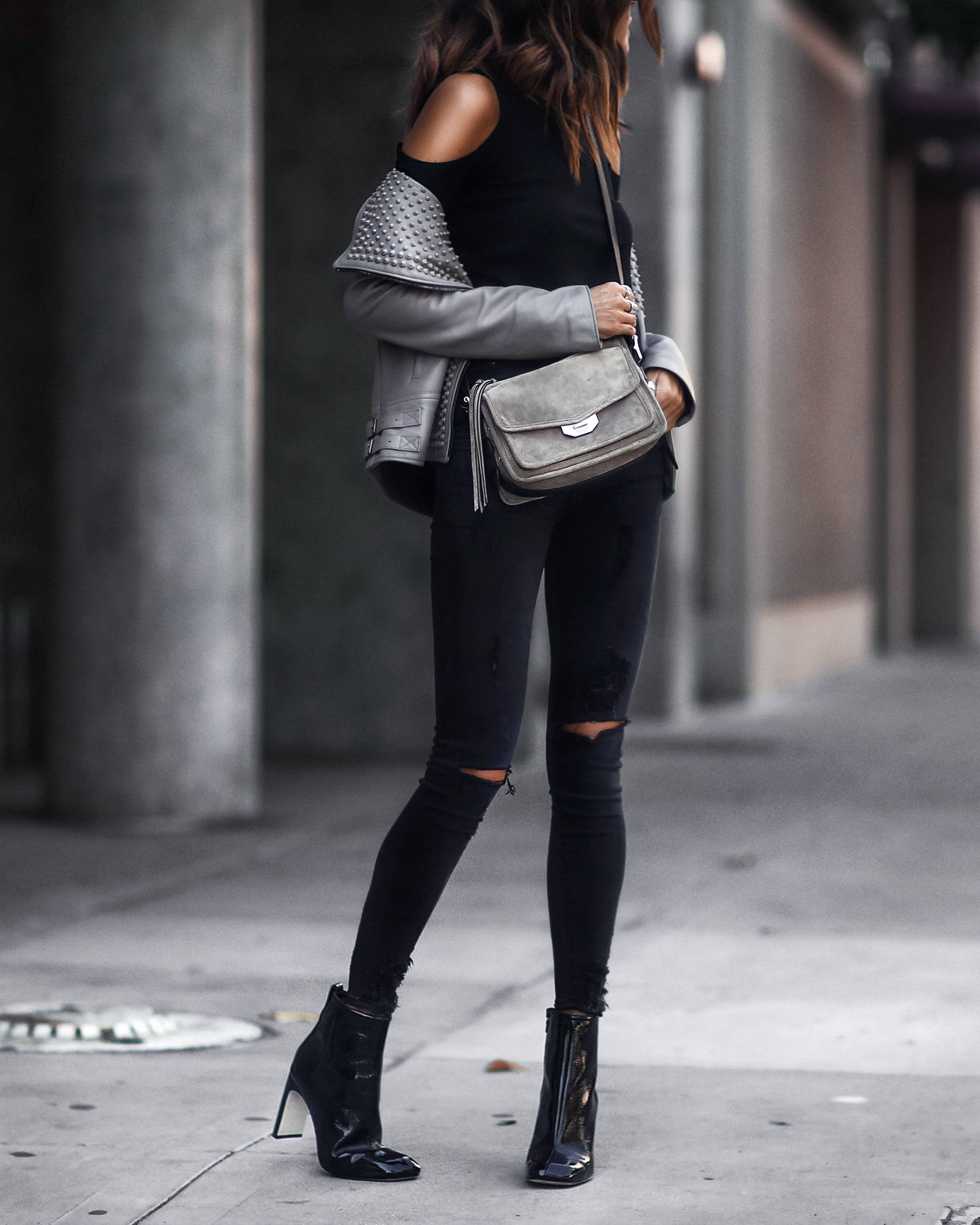 cold shoulder top, leather jacket, crossbody bag, patent leather booties