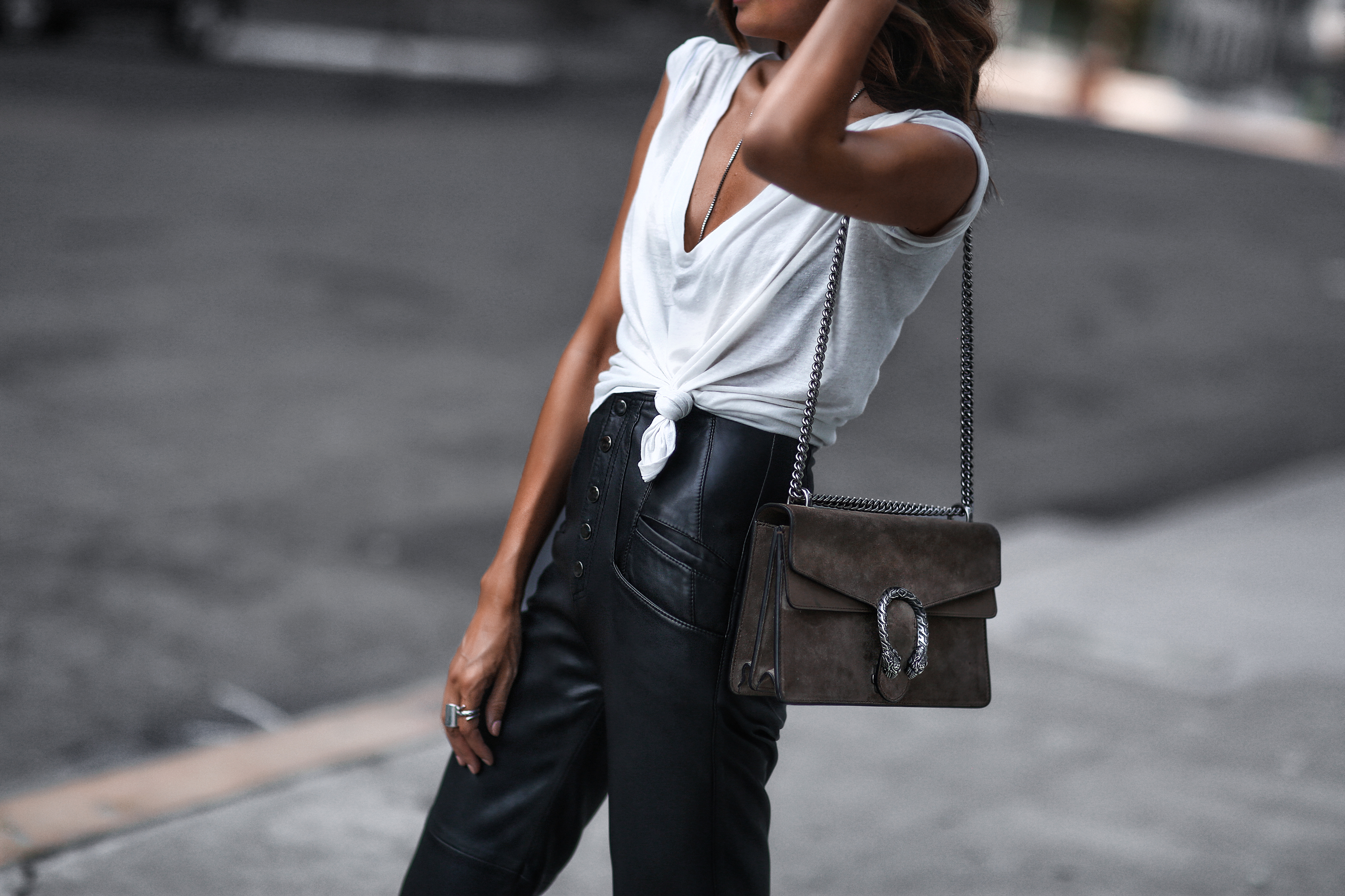 how to style leather pants, oversized tee