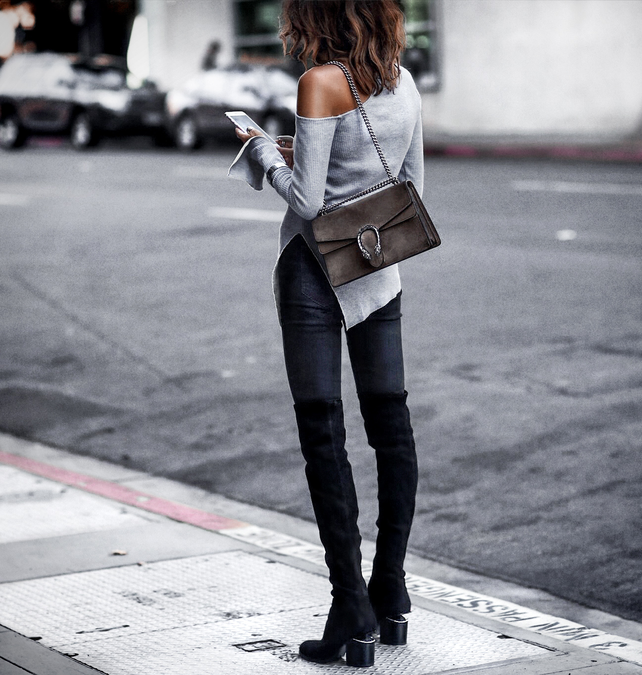 over the knee boots, sweater with cutouts